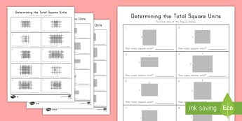 Find the Area in Square Units  Differentiated Worksheet / Activity Sheets - English - area, tiling, square units, length, width, measurement