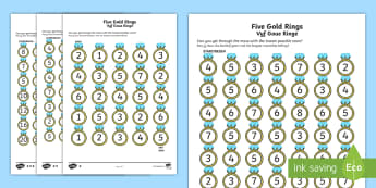 Five Gold Rings Activity Sheet English/Afrikaans - Math, numbers, numeracy, Wiskunde, nommers, gesyferdheid, EAL, worksheet