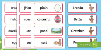 Brenda's Boring Eggs Word Cards - twinkl originals, fiction, KS1, EYFS, story, vocabulary, writing, the ugly duckling, ducks, duckling