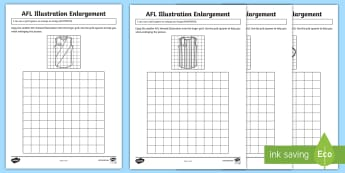 AFL Illustration Enlargement Activity Sheets - ACMMG115, enlargement, illustration enlargement, AFL, AFL maths, grid, worksheets, Enlarge, enlargem - ACMMG115, enlargement, illustration enlargement, AFL, AFL maths, grid, worksheets, Enlarge, enlargem