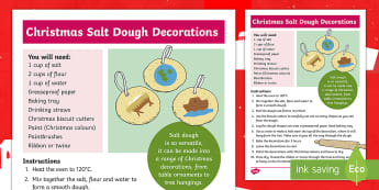 Salt Dough Christmas Decorations Craft Instructions - Christmas Crafts, Christmas fair, gifts, tree decorations, festive