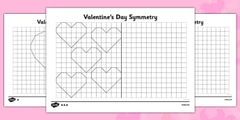 Valentine's Hearts Symmetry Differentiated Activity Sheet Pack - symmetry, activity, sheet, valentines, worksheet