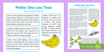 EYFS Maths: One Less Than Home Learning Challenges - EYFS Number ELG, mathematics, early years, EYFS Planning, activities,counting, ordering, numbers to