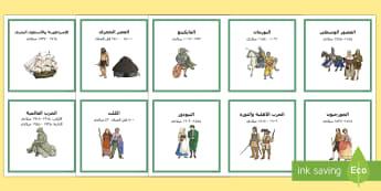 بطاقات التسلسل الزمني لتاريخ بريطانيا Arabic - تاريخ، بطاقات، تسلسل زمني بريطانيا، عصر الحجري، الوقت