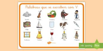 Póster palabras letra V - póster, palabras, letra v, ortografía, cómo se escribe,Spanish