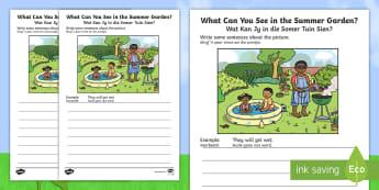 Summer Garden Writing Stimulus Picture English/Afrikaans - seasons, weather, temperature, literacy, pencil, geletterdheid, potlood, EAL