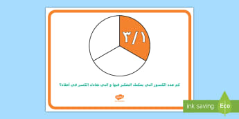ملصق عرض المرحلة الأولى - للكسور التي تعادل الثلث الواحد  - ثلث واحد، نفس الكسور،  رياضيات المرحلة الأولى ، الشكل،