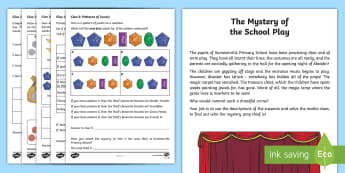 KS1 Mystery at the Summerville School Play Maths Game - calculations, money, measures, directions,parallel lines
