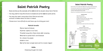 St. Patrick Poetry Activity Sheet - NI, St. Patrick's Day, Patrick, poem, poetry, acrostic, kenning, haiku, Ireland, Northern Ireland