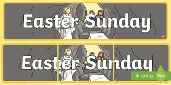 Easter Sunday Display Banner - christian, christianity, church, eggs, celebrations, festivals,