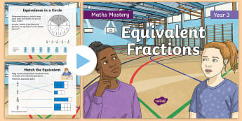 Year 3 Equivalent Fractions Maths Mastery PowerPoint - Reasoning, Greater Depth, Abstract, Problem Solving, Explanation, y3, ks2