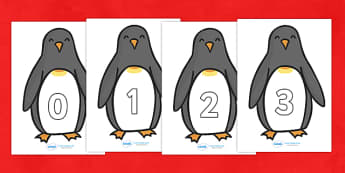 Numbers 0-30 on Penguins  - numeracy, numbers, counting, numbers to 30, penguins, Penguin, pengwinm, pengwiniaid, winter, arctic, Foundation Numeracy, Number recognition, Number flashcards, 0-30, A4, display numbers, Winter, Christmas, xmas, editable