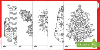 Feuilles de coloriages sur le thème de Noël - Père noël, sapin, chaussettes, cadeaux, rennes