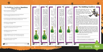 The Bubbling Cauldron Reading Comprehension Activity English/Mandarin Chinese - Halloween, october, festival, autumn, EAL
