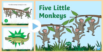 Five Little Monkeys Nursery Rhyme PowerPoint - rhymes, songs