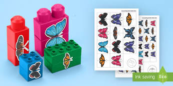 Butterfly Symmetry Matching Connecting Bricks Game - EYFS, Early Years, KS1, Connecting Bricks Resources, duplo, lego, plastic bricks, building bricks, l