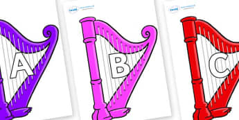 A-Z Alphabet on Harps - A-Z, A4, display, Alphabet frieze, Display letters, Letter posters, A-Z letters, Alphabet flashcards