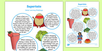 Home Learning Challenge Sheet to Support Teaching on Supertato Reception FS2
