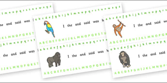 Alphabet Strips (Jungle & Rainforest) - Alphabet, Learning letters, Writing aid, Writing Area, vines, A4, display, snake, forest, ecosystem, rain, humid, parrot, monkey, gorilla