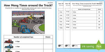 How Many Times around the Track Five Times Table Activity Sheet - Math, Multiplication, Grand Prix, Formula One, Racing Cars, worksheet