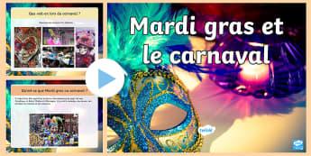 PowerPoint : Mardi gras et le carnaval - événement, Carême, jeune, aliments, cycle 3,French