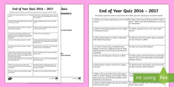 End of School Year 2016-2017 Second Level Quick Quiz - End of School Year, Quiz, 2016-17 quiz, quiz sheet, school year, end of term, current affairs quiz,
