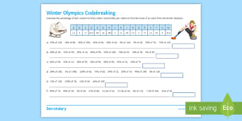 Percentage of Amounts Winter Olympics Activity Sheet - percentages, winter, olympics, 2018, PyeongChang, code-breaking, Sochi, Puzzle