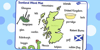 Scotland Word Mat - scotland, word mat, word, mat, britain