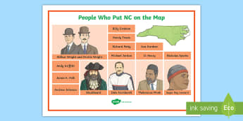 People Who Put North Carolina on the Map Word Mat - United States History, State history, North Carolina, Andrew Johnson, The Wright Brothers, Blackbear