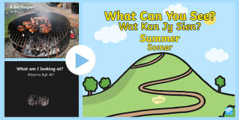 Summer Themed What Can You See PowerPoint English/Afrikaans - season, weather, temperature, warm, guessing, looking seisoene, EAL