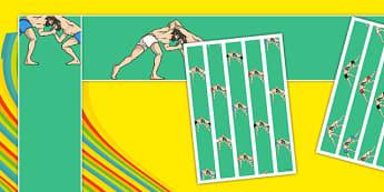 Rio 2016 Olympics Greco Roman Wrestling Display Borders - greco, roman, wrestling, display, borders