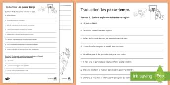 Hobbies Translation Worksheet / Activity Sheet French - Free time worksheet, KS3, passe-temps, libre