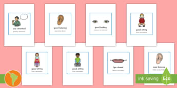 Good Listening Cards US English/Spanish (Latin) - education, home school, child development, children activities, free, kids, children behaviour, beha