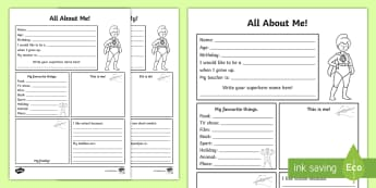 All About Me Activity Sheet English/Afrikaans - My, class, information, growth, literacy, writing, geletterdheid, EAL