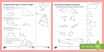Similarity and Congruence Activity Sheets - congruent, enlargement, ratio, geometry, proportion, scale worksheet, prove