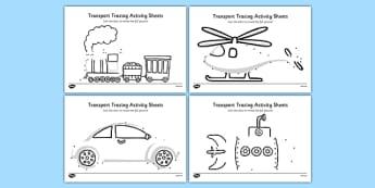 Aistear Transport Tracing Activity Sheets - roi, irish, republic of ireland, aistear, transport, worksheet