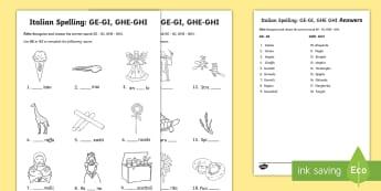 Italian Spelling: GE GI GHE GHI Activity Sheet - italian, italiano, spelling, grammar, phonetic, sounds, primary, literacy