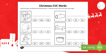 Christmas CVC Word Activity Sheet