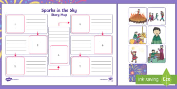 Sparks in the Sky Story Map - twinkl originals, fiction, story, fireworks, bonfire night, guy fawkes