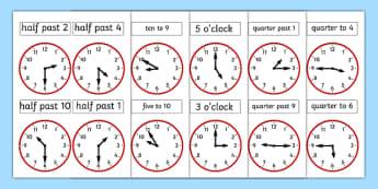 Analogue Clocks - analogue, clocks, time, quarter past, o'clock