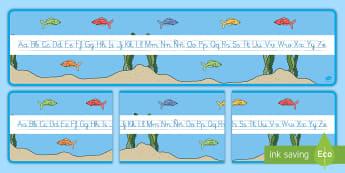 El pez arcoiris recta alfabética de exposición - Bajo el mar, proyecto, alfabeto, abecedario, escritura, escribir, caligrafía,Spanish