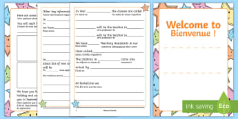 Welcome for children Booklet English/French - Welcome Booklet for Children - welcome, booklet, children, book, Nursery Transition, reception trans