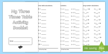 Three Times Table Activity Booklet - CfE Multiplication Workbooks, Three, times tables, MNU 1-03a, 3x tables, times tables, multiplicatio