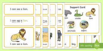 EYFS Safari Simple Sentence Cards - Safari, Sentences, sentence cards, reading, phonics, people who help us, eyfs, literacy