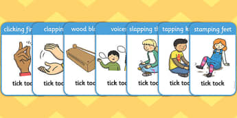 Tick Tock Picture Cards - tick tock, picture cards, picture, cards