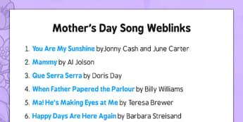 Elderly Care Mother's Day Song Weblinks - Elderly, Reminiscence, Care Homes, Mother's Day