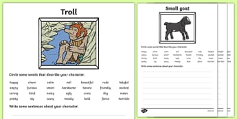 Billy Goats Gruff Character Description Sheets - Three Billy Goats Gruff, traditional tales, description sheet, worksheet, describing, description, tale, fairy tale, goat, billy goat, troll, sweet grass, bridge