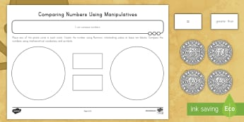 Compare Numbers Using Manipulatives Activity Sheets - compare, numbers, pirate, number skills, greater than, less than, equal, place, number comparison