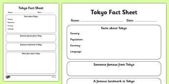 Tokyo Factsheet Writing Template - tokyo, tokyo fact sheet, tokyo fact file, tokyo worksheet, japan, japanese capital, capital cities, ks2 geography