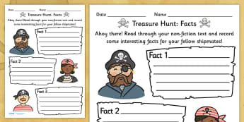 Fact Hunt Worksheet Pirate Theme - worksheets, worksheet, work sheet, fact hunt, facts, find the facts, pirate theme, pirate worksheet, pirates, sheets, activity, writing frame, filling in, writing activity, KS2